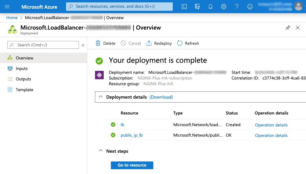 Screenshot of Azure 'Deployment complete' page for creating a Standard Load Balancer