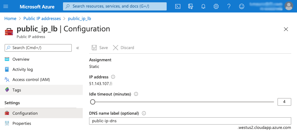 Screenshot of Azure page for public IP address of a Standard Load Balancer