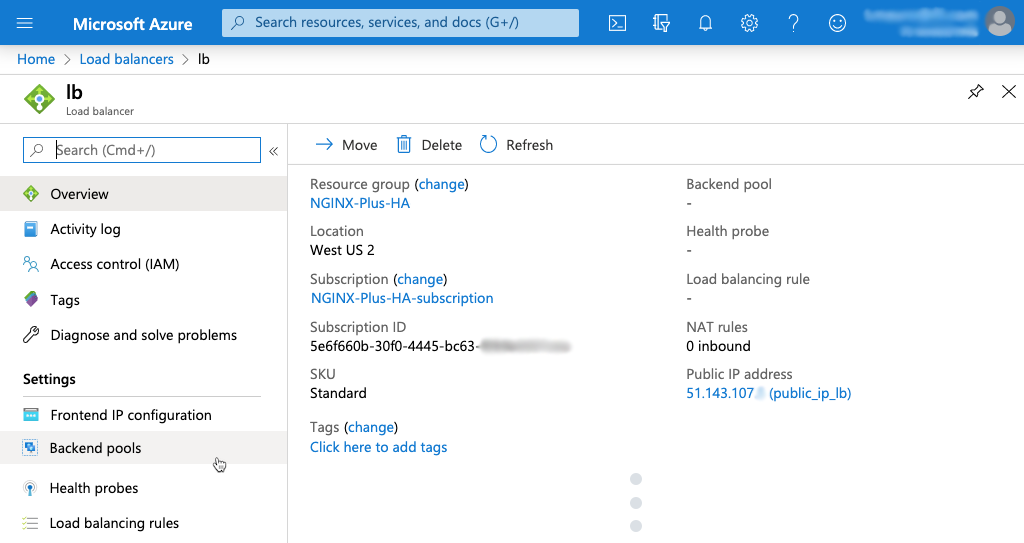 Screenshot of selecting 'Backend pools' on details page for an Azure Standard Load Balancer