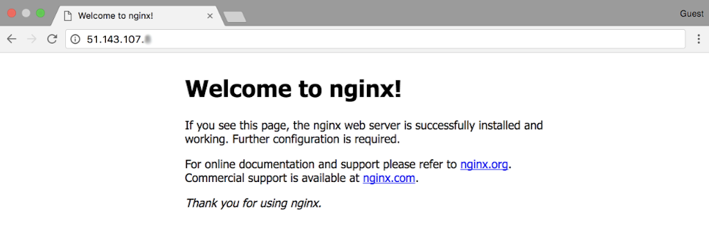 Screenshot of 'Welcome to nginx!' page that verifies correct configuration of an Azure Standard Load Balancer