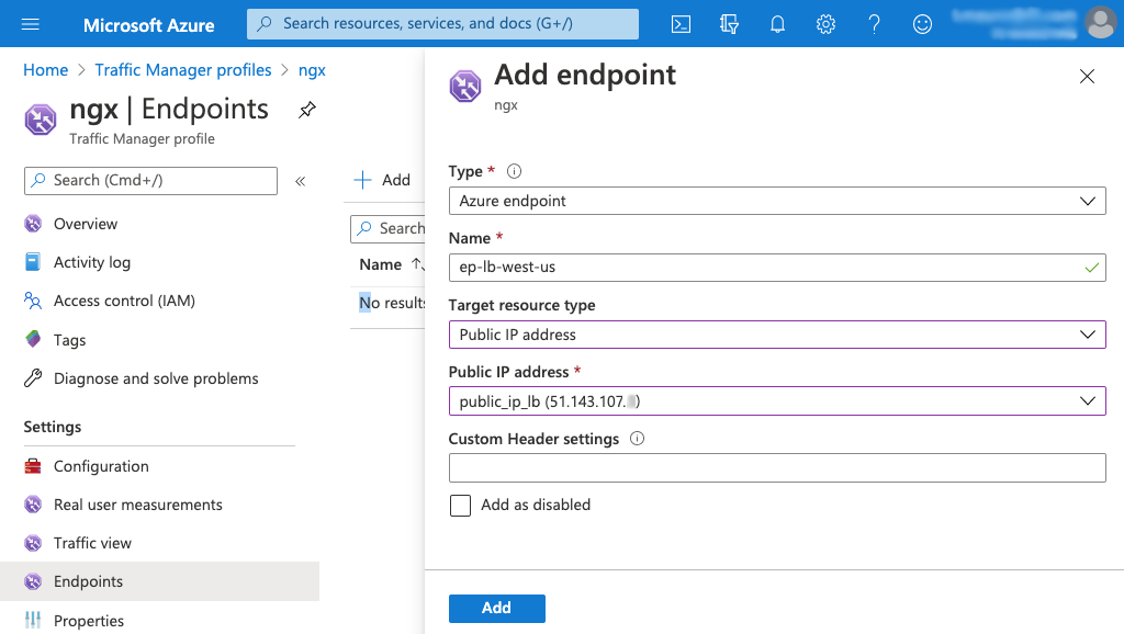 Screenshot of Azure 'Add endpoint' page