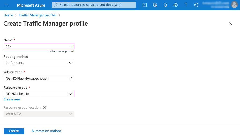 Screenshot of Azure 'Create Traffic Manager profile' page