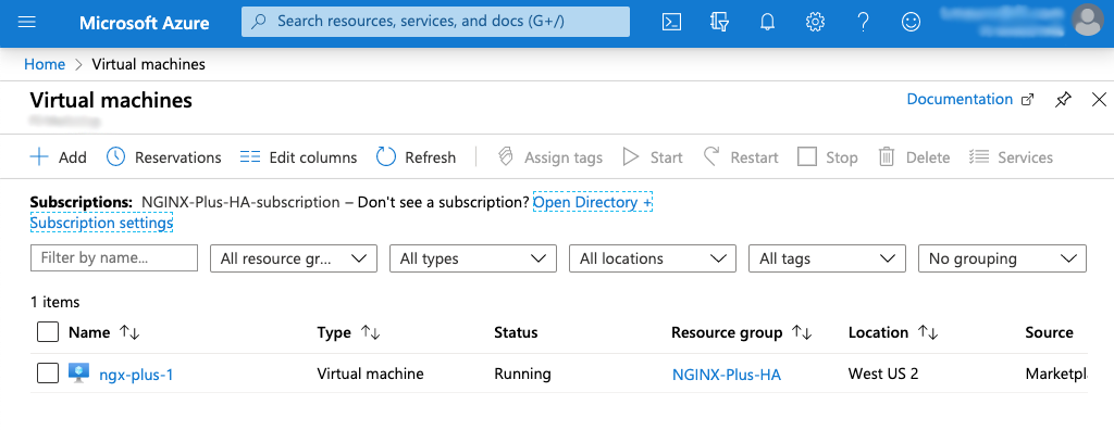 screenshot of Azure 'Virtual machines' page with list of VMs