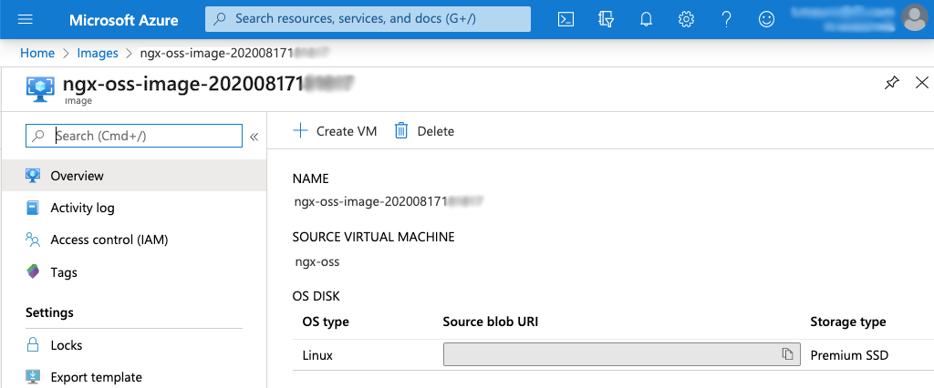 screenshot of details page for Azure 'ngx-plus-1-image' image