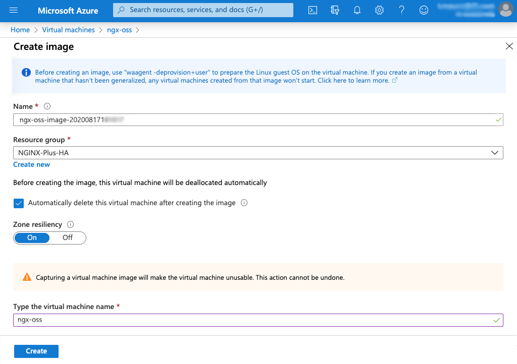 screenshot of Azure 'Create Image' page