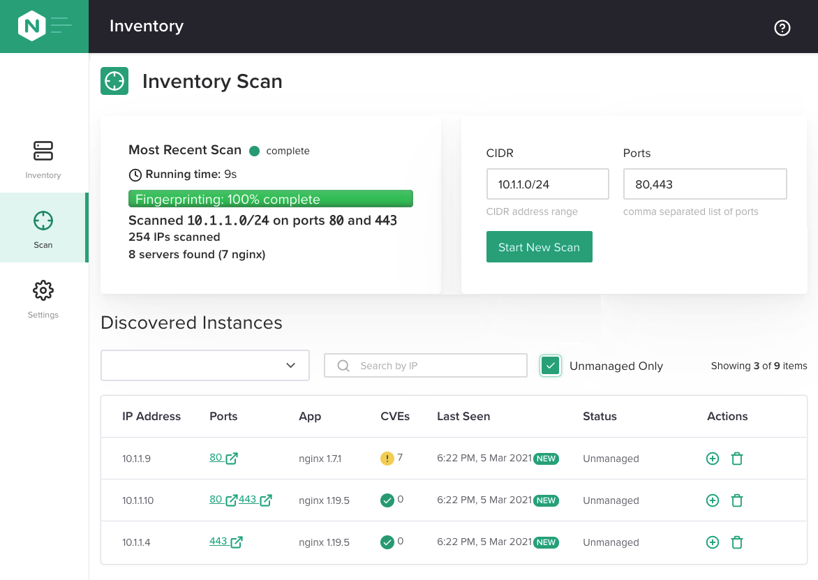 'Inventory Scan' tab in NGINX Instance Manager