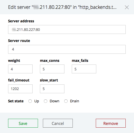 The 'Edit selected' interface for modifying or removing servers in an upstream group in the NGINX Plus live activity monitoring dashboard