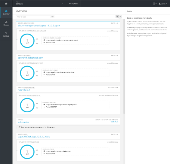 Overview page in OpenShift GUI, with servers configured per the Proxy Model of the NGINX Microservices Reference Architecture